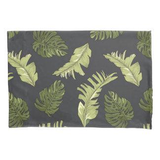 Illustrated Jungle Leaves Dark Pattern Pillowcase