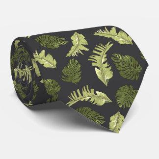Illustrated Jungle Leaves Dark Pattern Tie