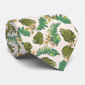 Illustrated Jungle Leaves Pattern Tie