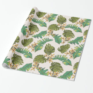 Illustrated Jungle Leaves Pattern Wrapping Paper