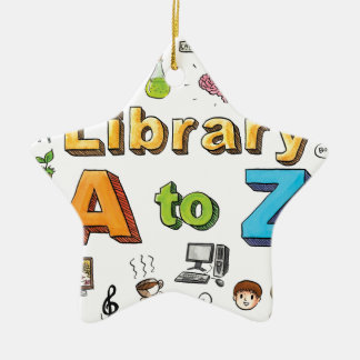 Illustrated Library A-Z Logo Ceramic Star Decoration