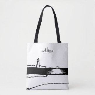 Illustrated Lighthouse Landscape Tote Bag