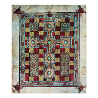 Illustrated Manuscript Cross Carpet Page Poster