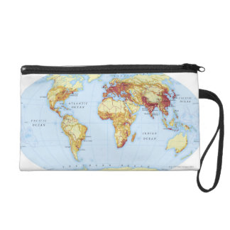 Illustrated Map 3 Wristlet Clutch