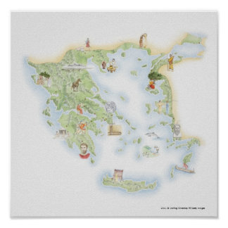 Illustrated map of Ancient Greece Poster