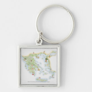 Illustrated map of Ancient Greece Silver-Colored Square Key Ring