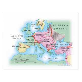 Illustrated Map of Europe Postcard