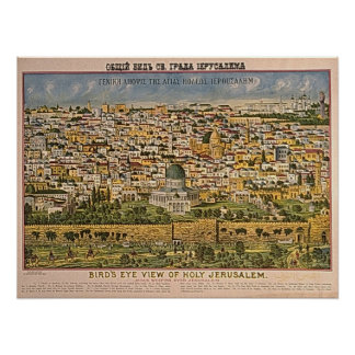 Illustrated Map of Holy Jerusalem Poster