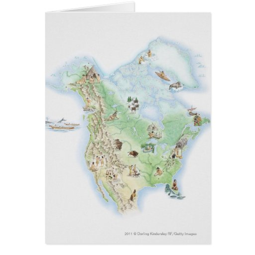Illustrated map of North America Cards