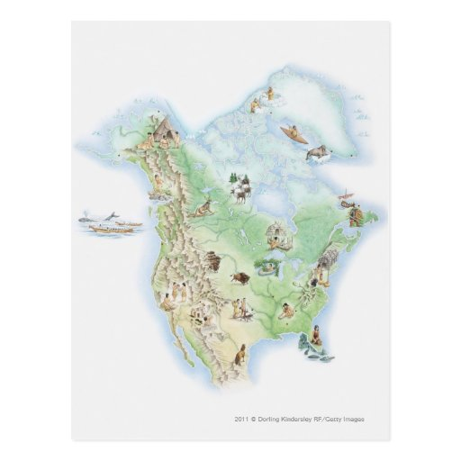 Illustrated map of North America Postcards