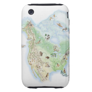 Illustrated map of North America showing Tough iPhone 3 Covers