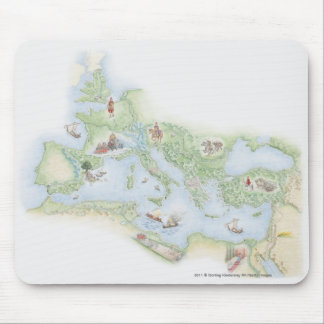 Illustrated map of Roman Empire Mouse Pad