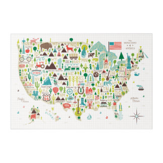 Illustrated Map of the USA Acrylic Wall Art
