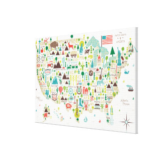 Illustrated Map of the USA Canvas Print