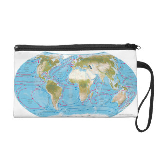 Illustrated Map Wristlet Clutches