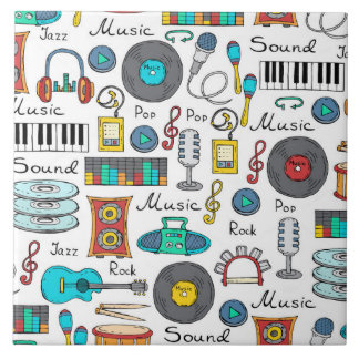 Illustrated music objects large square tile