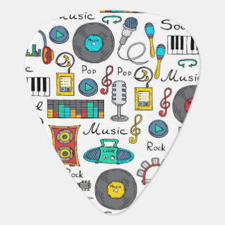 Illustrated music objects plectrum