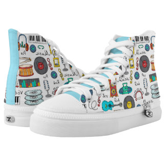Illustrated music objects printed shoes