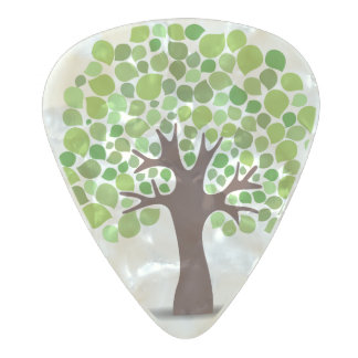 Illustrated nature tree pearl celluloid guitar pick