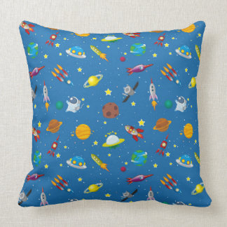 Illustrated out in space objects throw pillow
