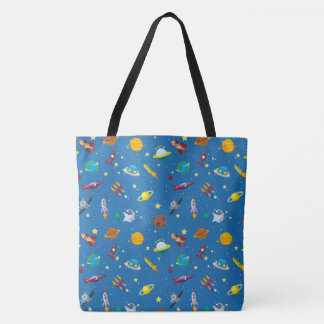 Illustrated out in space objects tote bag