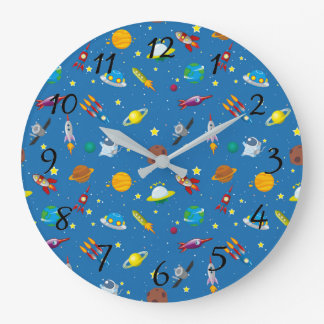 Illustrated out of space objects wallclock