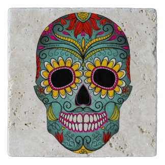 Illustrated painted skull trivet