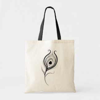 Illustrated Peacock Feather Tote Bag