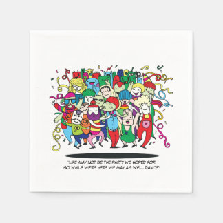 Illustrated People Dancing Paper Serviettes