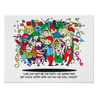 Illustrated People Dancing Poster