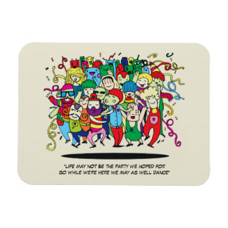 Illustrated People Dancing Rectangular Photo Magnet
