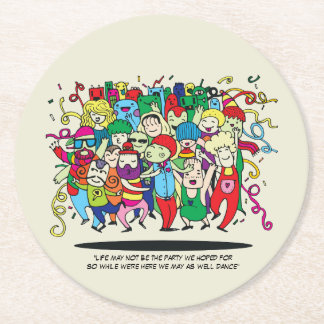 Illustrated People Dancing Round Paper Coaster