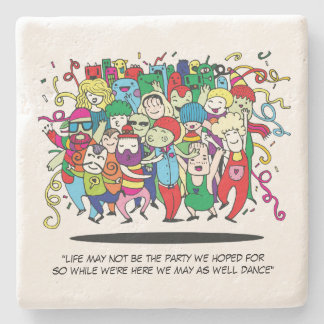 Illustrated People Dancing Stone Coaster