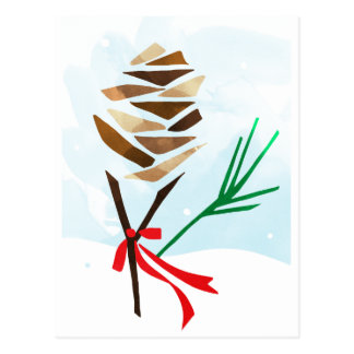 Illustrated Pine Cone Christmas Holiday Postcard