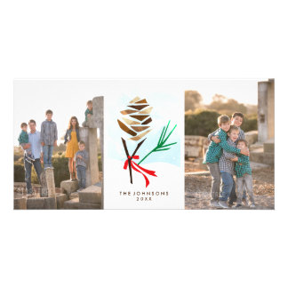 Illustrated Pine Cone Christmas Photo Cards