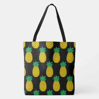 Illustrated Pineapples Background Tote Bag