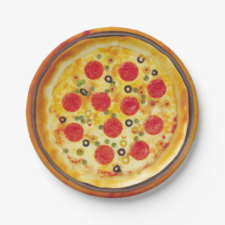 Illustrated Pizza background deign Paper Plate