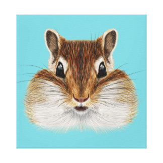 Illustrated portrait of Chipmunk. Canvas Print