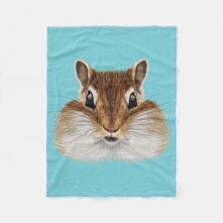 Illustrated portrait of Chipmunk. Fleece Blanket