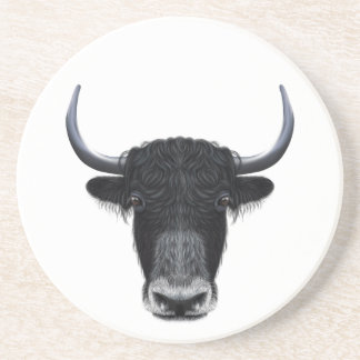 Illustrated portrait of Domestic yak. Coaster