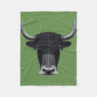 Illustrated portrait of Domestic yak. Fleece Blanket