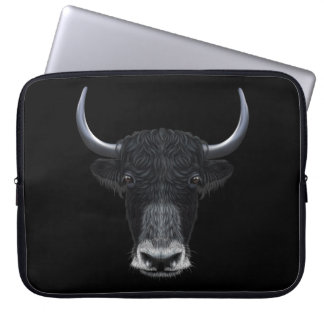 Illustrated portrait of Domestic yak. Laptop Sleeve