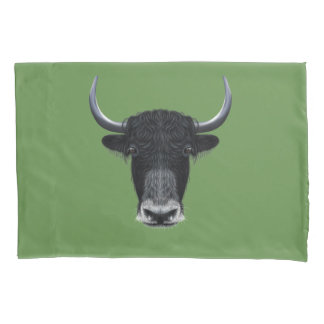 Illustrated portrait of Domestic yak. Pillowcase