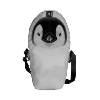 Illustrated portrait of Emperor penguin chick. Commuter Bag