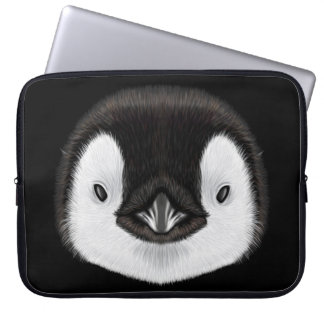 Illustrated portrait of Emperor penguin chick. Laptop Computer Sleeves