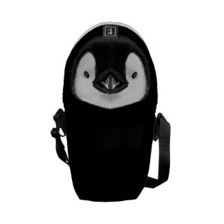 Illustrated portrait of Emperor penguin chick. Messenger Bag