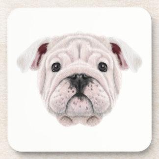Illustrated portrait of English Bulldog puppy. Coaster