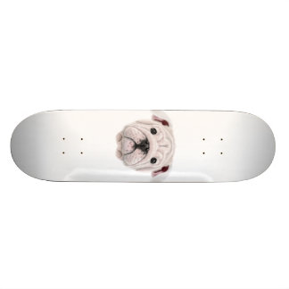 Illustrated portrait of English Bulldog puppy. Custom Skate Board