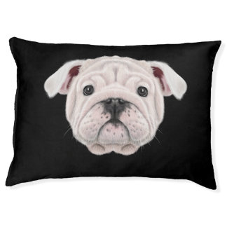 Illustrated portrait of English Bulldog puppy. Pet Bed