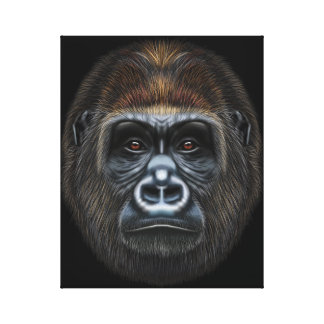 Illustrated portrait of Gorilla male. Canvas Print